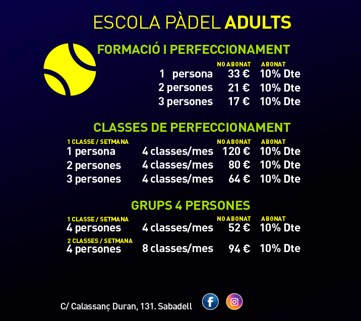 pantalla tarifes web padel adults